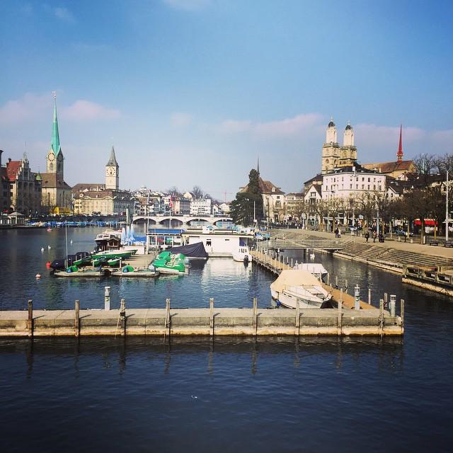 A beautiful view of Zurich down the Limmat river taken from the Quaibrucke Bridge #zurich #switzerland #riverview  #monsmossion