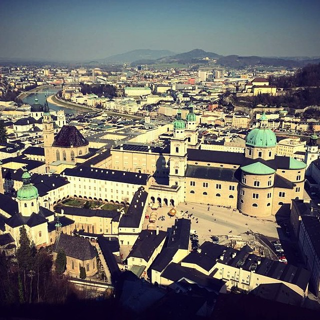 Looking back over old town Salzburg with the Cathedral in front. I could happily call this castle home with this kind of view. #castle #salzburg #cathedral #monsmission #castlelife #newpad