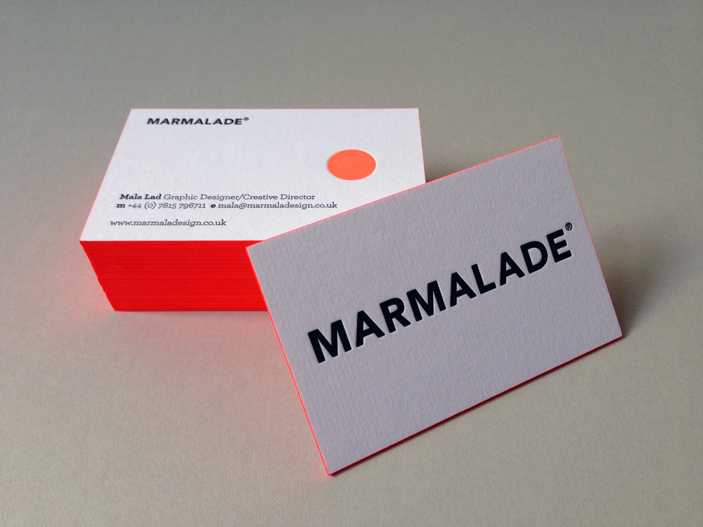 Marmalade business cards—hot off the letterpress! — Marmalade