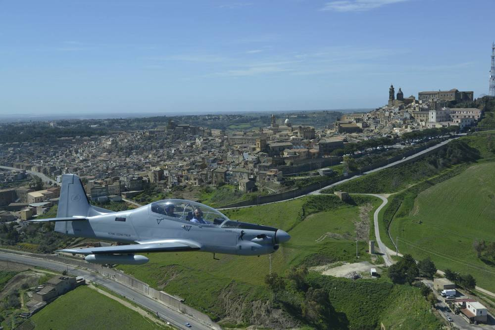 Tucano-R flying over Sicily