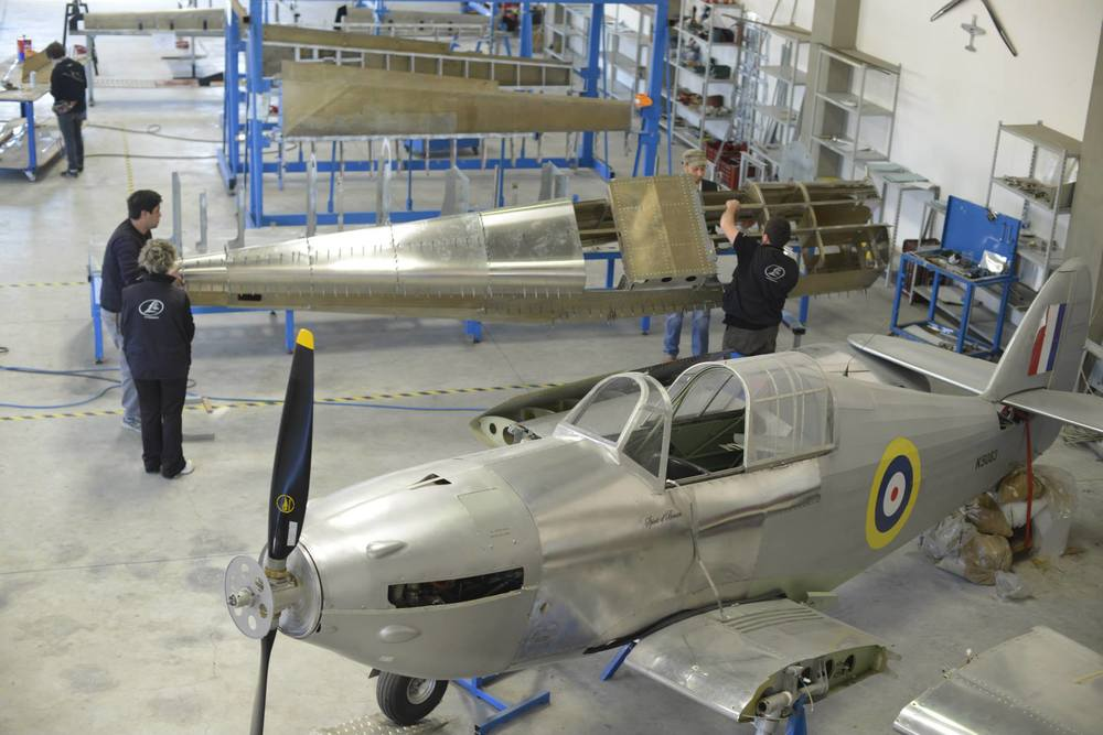 Hurricane prototype in the foreground, with Tucano kits being assembled behind.