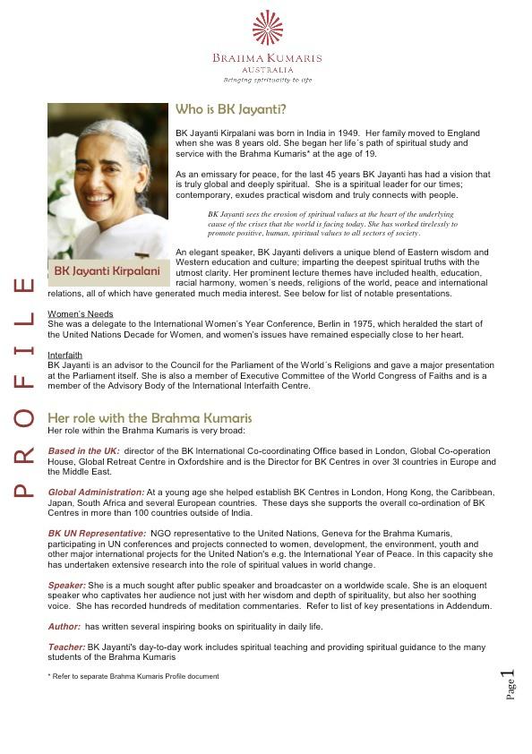 BK Jayanti Profile