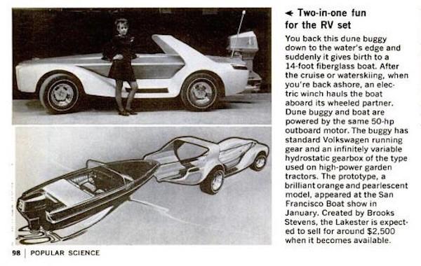 Brooks Stevens Evinrude Lakester show car in Popular Science