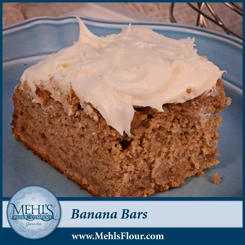 We decided to shake up the banana bread a bit by baking it in a bar pan and adding frosting.