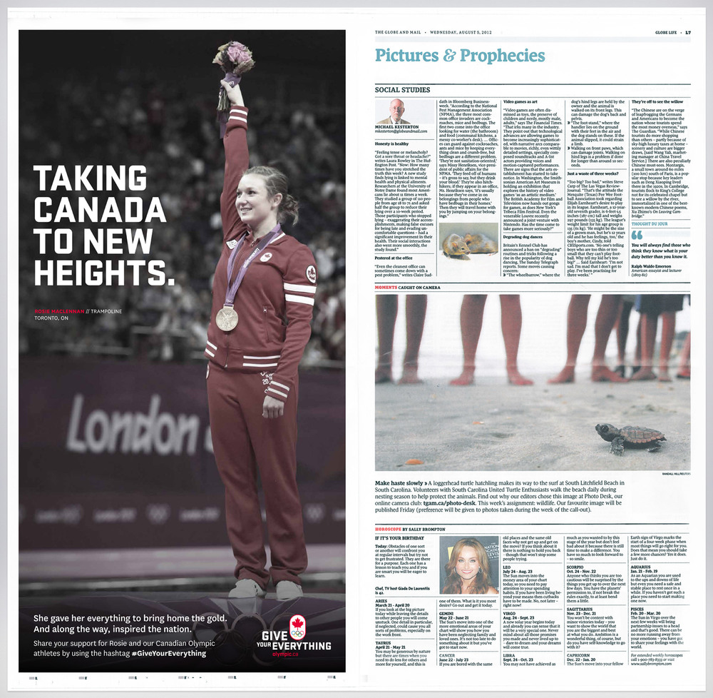 National newspaper ads ran the day after Gold Medal win.