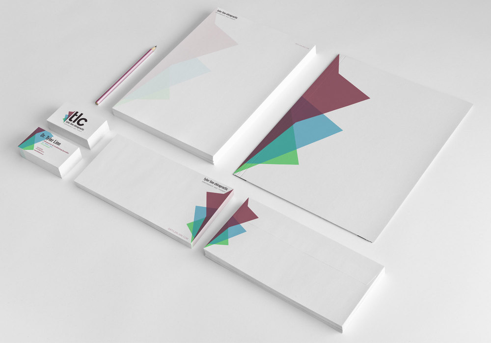 Full branding expressed in stationary set.