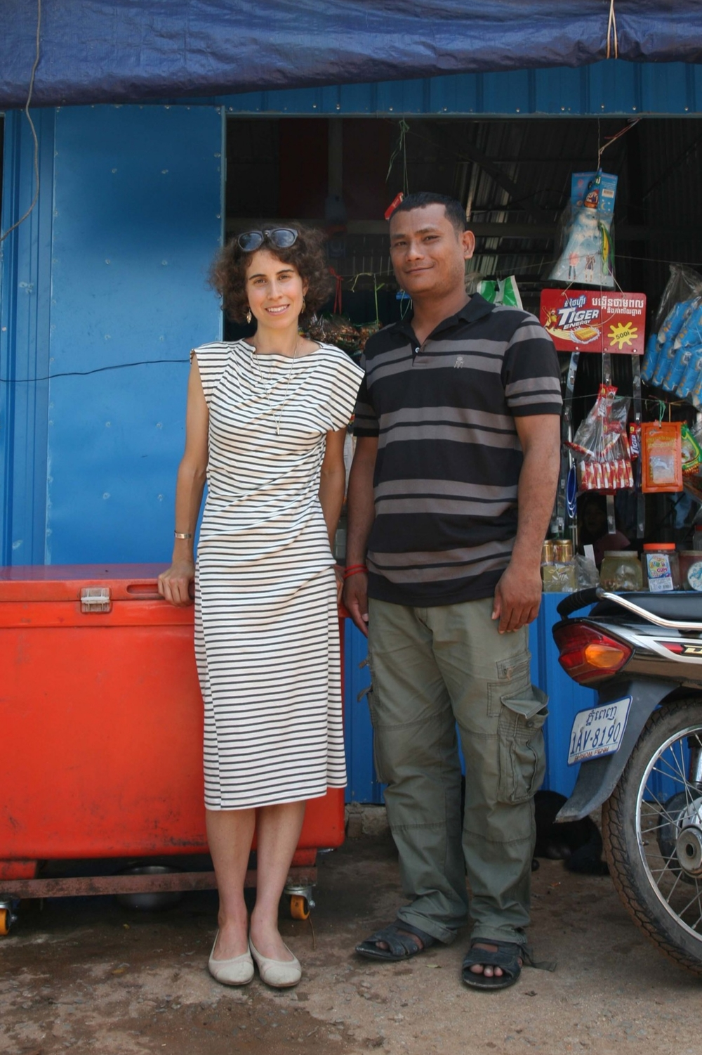Longtime Study customer, Hen, wearing our Twist Dress in Phnom Penh.