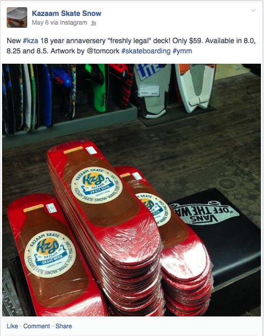 Kazaam's Facebook announcement of decks' arrival in store.