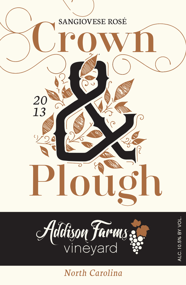 The label for our first rosé, Crown & Plough