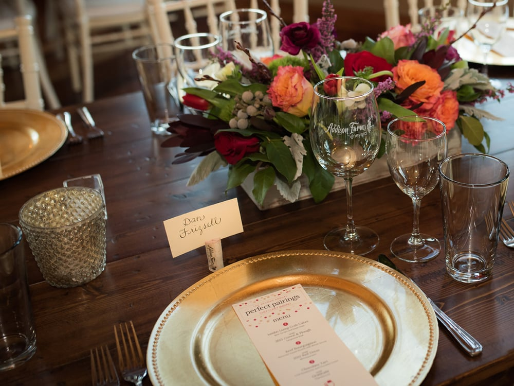 Place setting from our 2015 perfect pairings Valentine's dinner