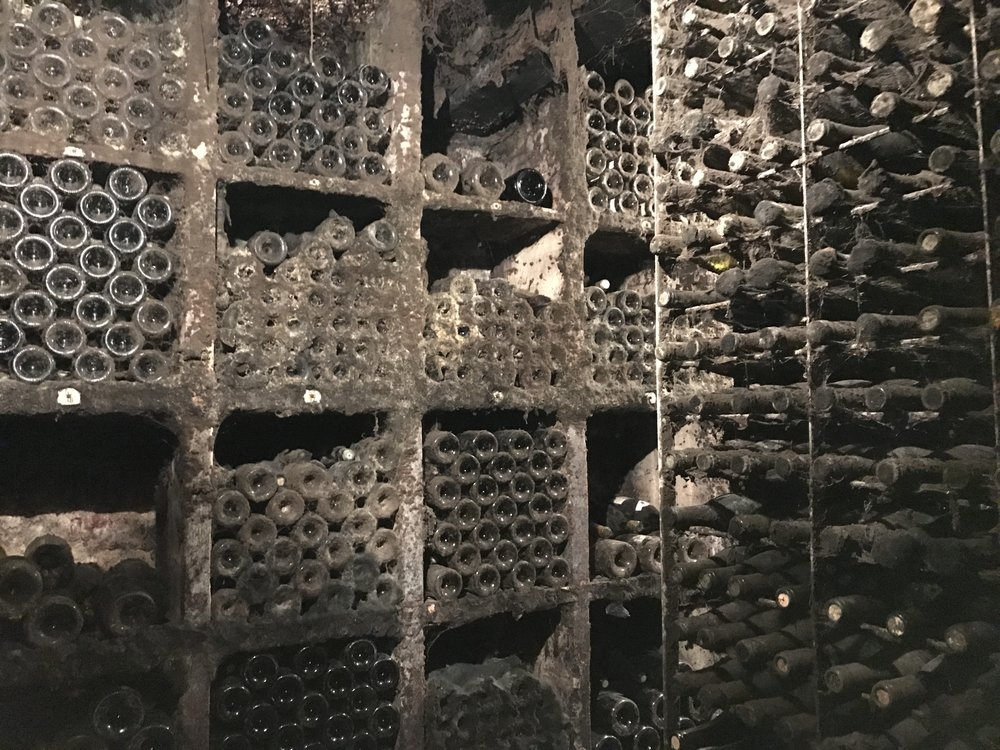 Bottles aging at Domaine Chevalier in Ladoix-Serrigny under perfect conditions in the cellar. Chevalier was our favorite Bourgogne winery
