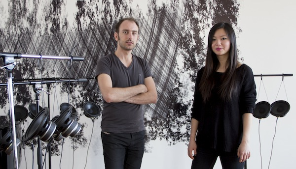 Composer Tristan Perich (left) and Vicky Chow, with some of the Surface Image hardware.