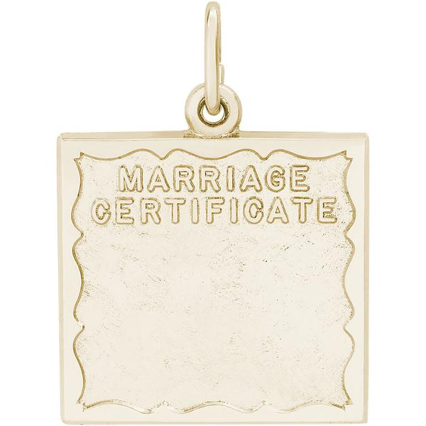Marriage Certificate Charm Rc  Robert Laurence Jewelers