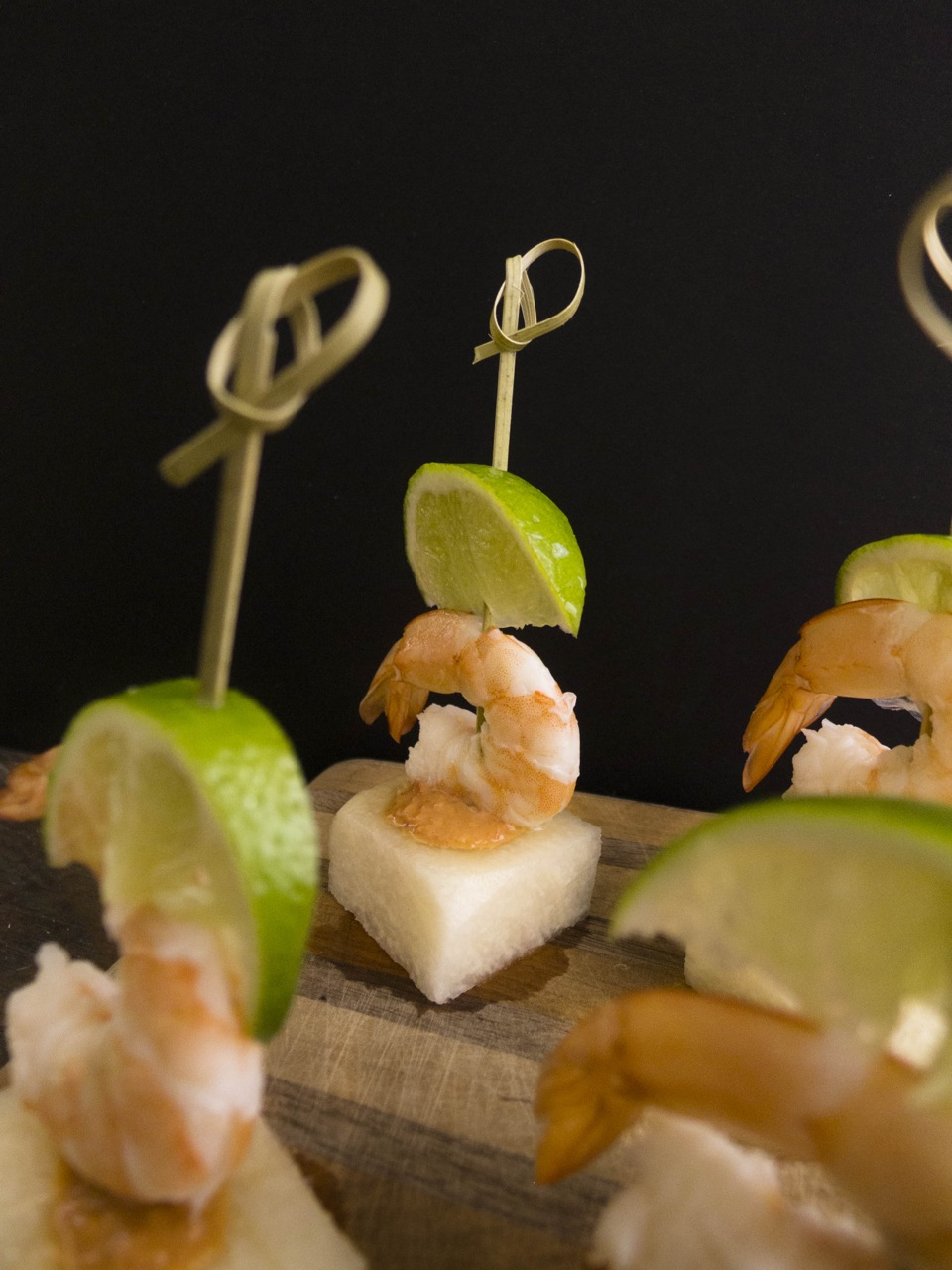 Shrimp and jicama appetizers with light coconut water peanut sauce