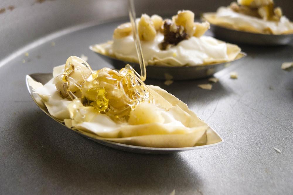 Light Goat Cheese and Greek yogurt tart with honey and walnuts