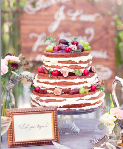 Naked wedding cakes fruit