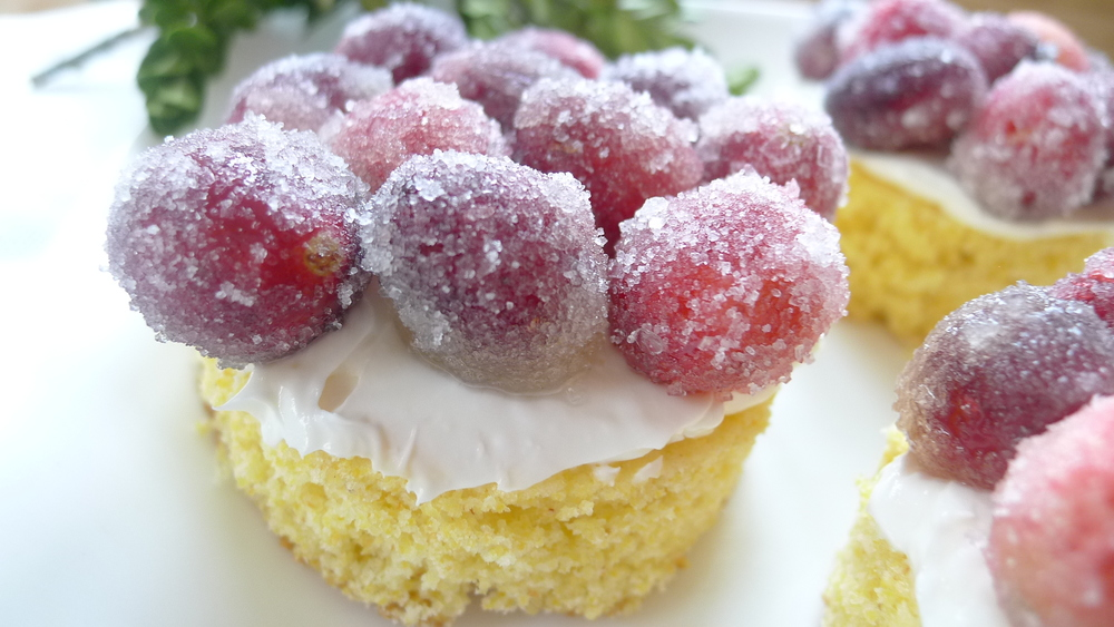 sugared cranberry cakes