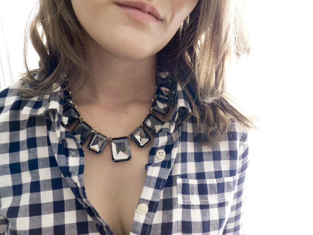 LOFT grey gem bib necklace