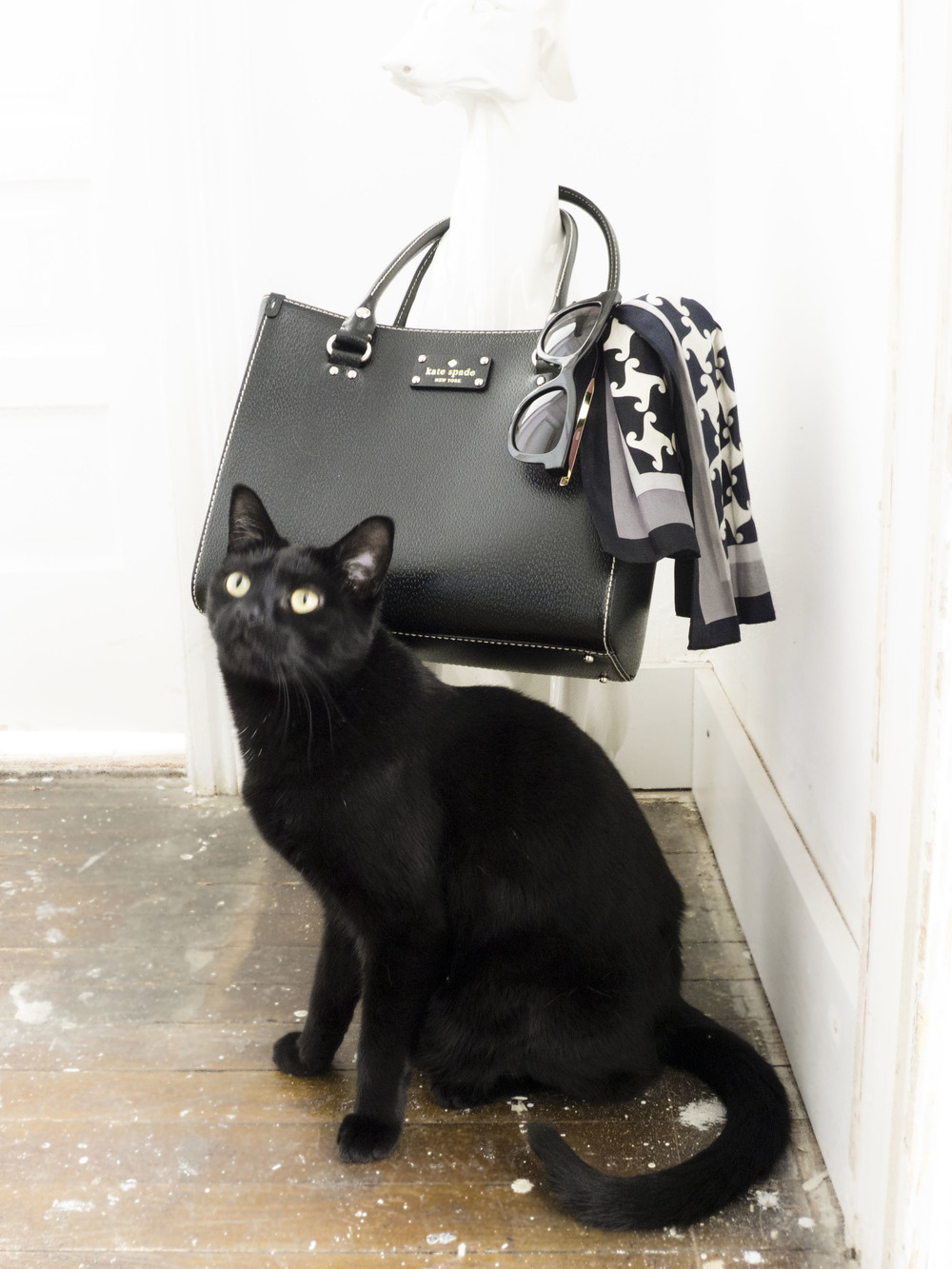 black kate spade wellesley quinn, black cat