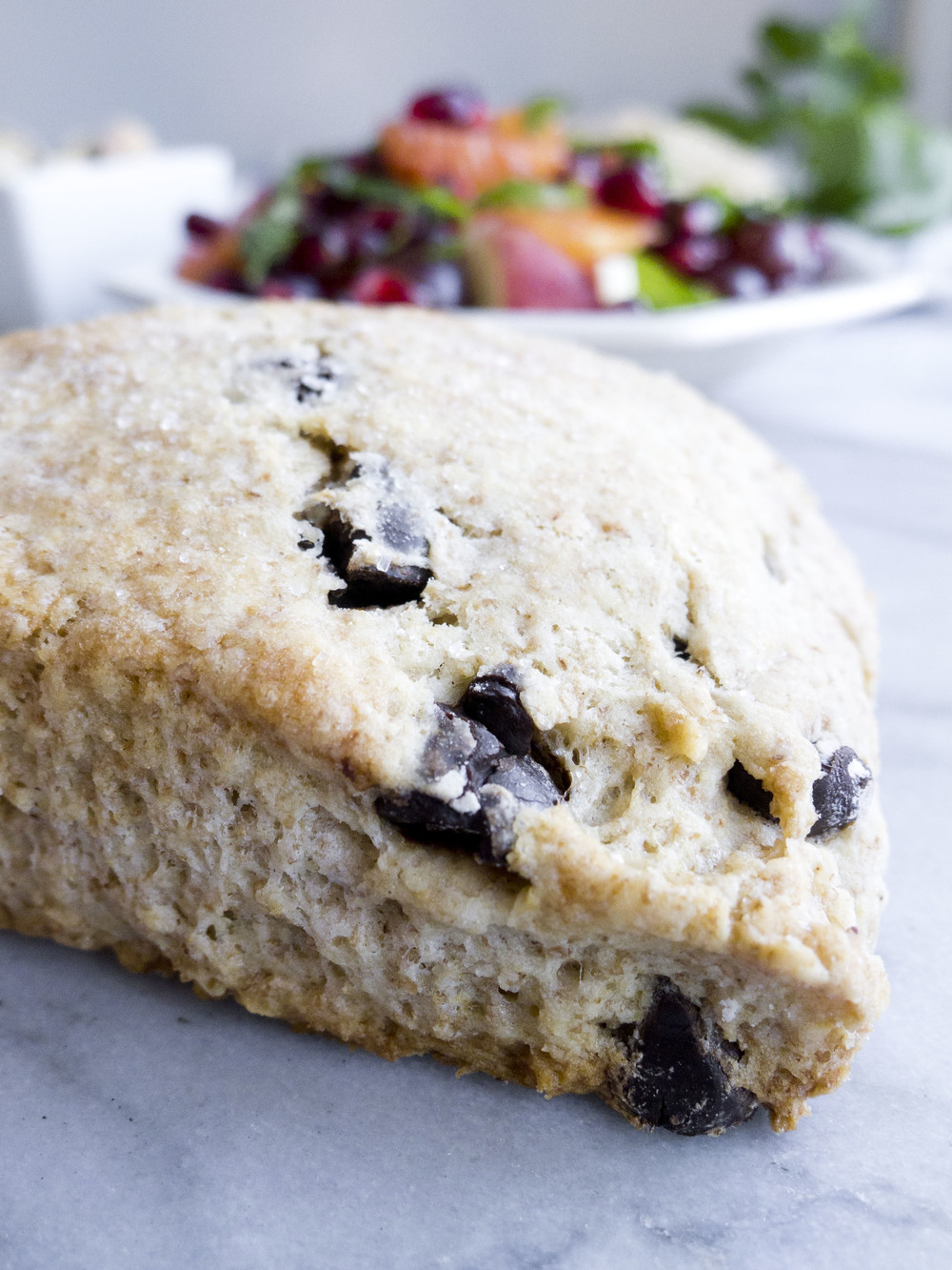 pistachio pairings: whole wheat chocolate chip scones