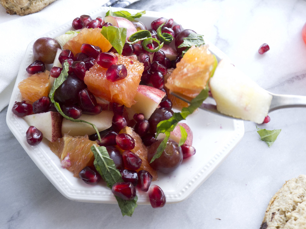 pistachio pairings: winter herb and fruit salad