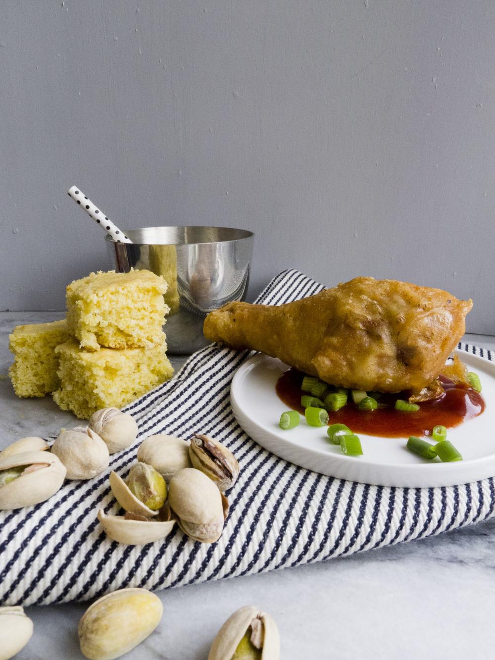 pistachio pairings: bbq chicken, cornbread, celery soda