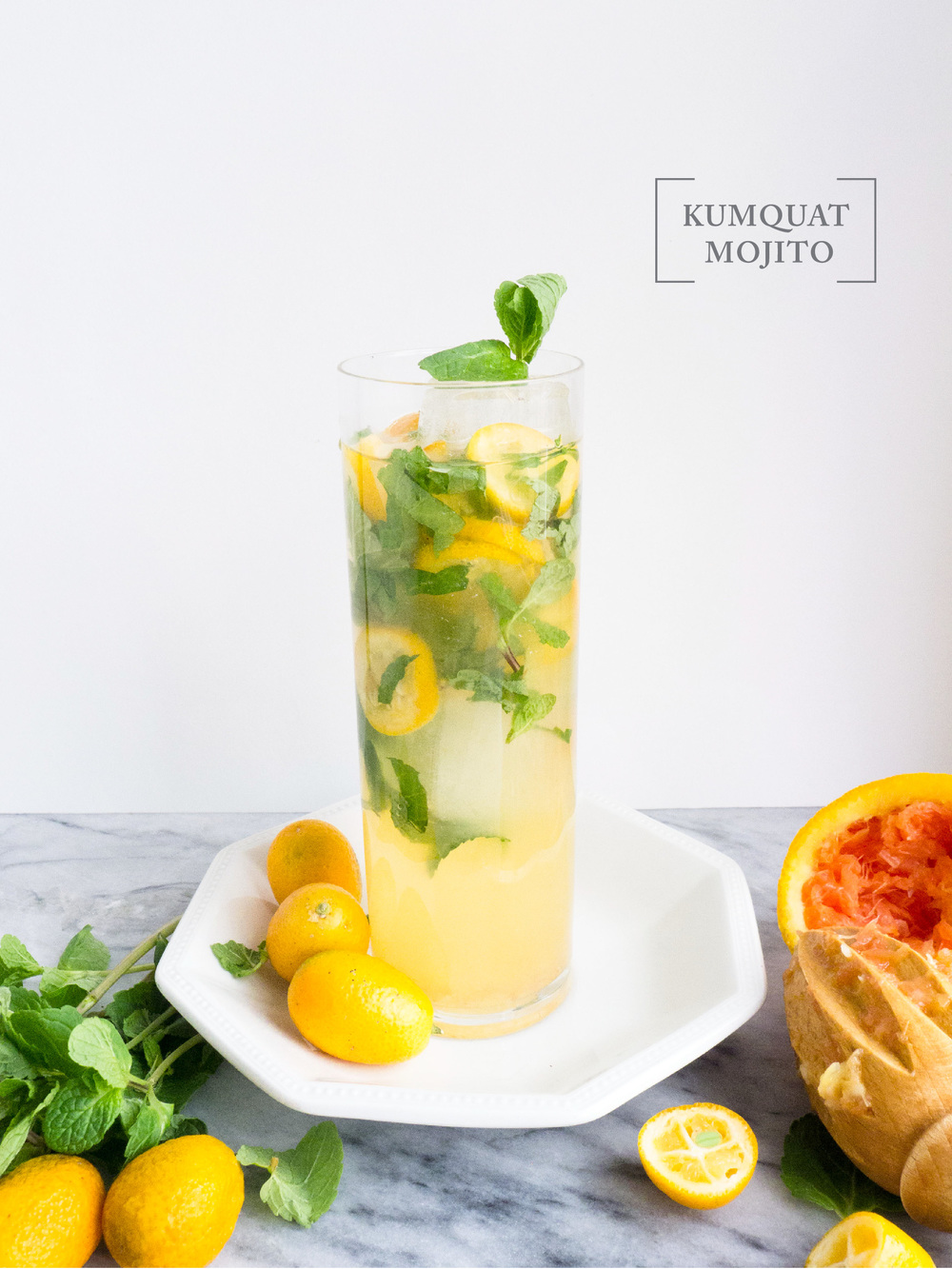 Kumquat mojito; clean eating cocktail