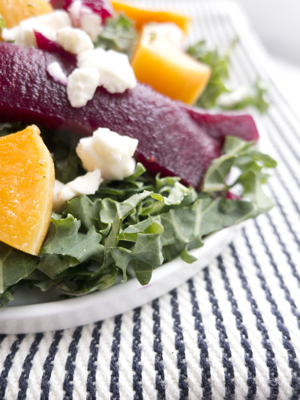 healthy Winter Kale, Beet and Butternut Squash Salad
