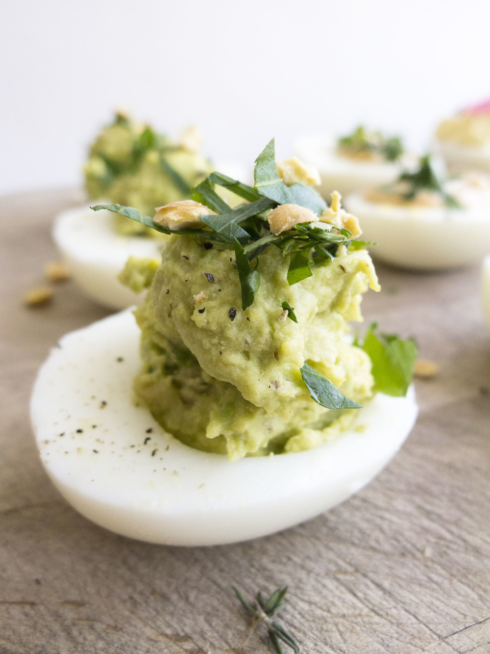 deviled eggs 3 ways: herbal with avocado, lemon and herbs