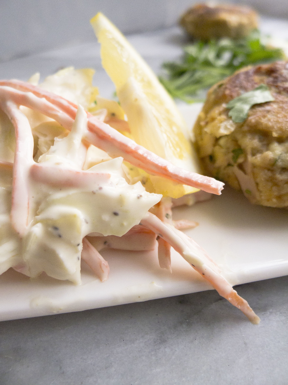 Healthy Tuna Patties with Greek Yogurt Coleslaw