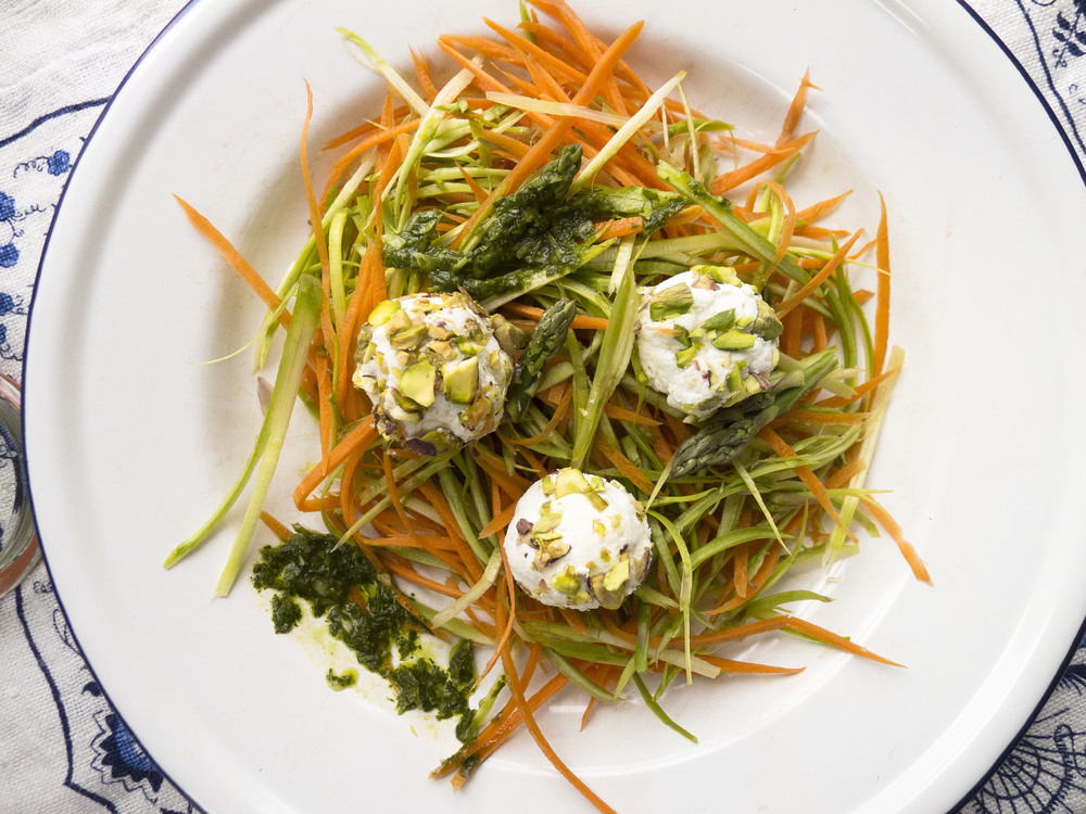 Spring Vegetable Noodles with Goat Cheese and Herbs