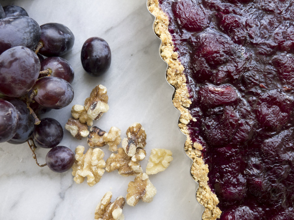 Grape Tart with Walnut Crust