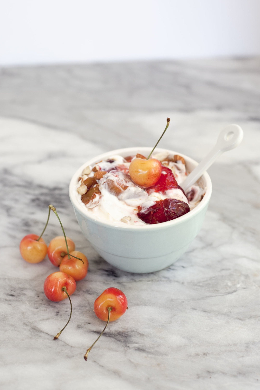 Roasted Cherries and plums with yogurt