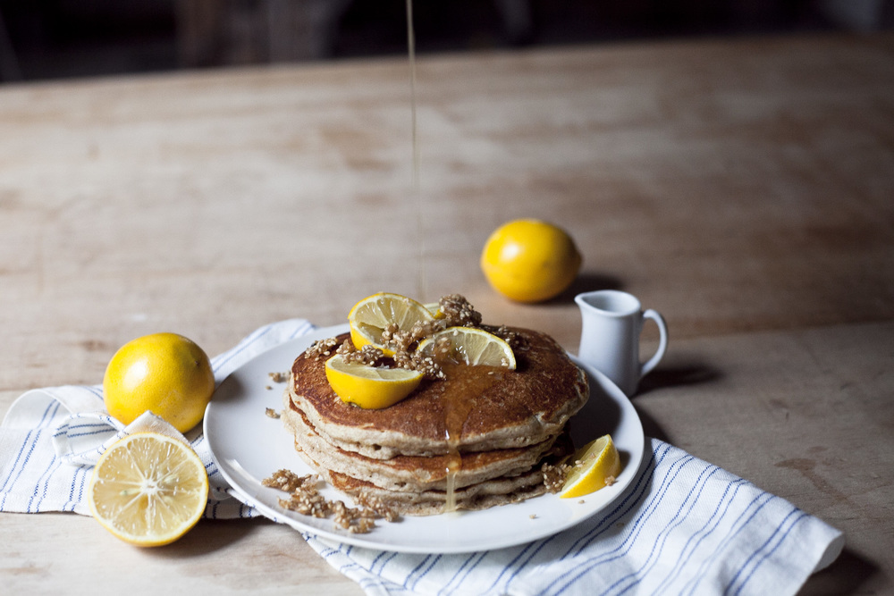 Whole Wheat Meyer Lemon Pancakes with Sesame Brittle