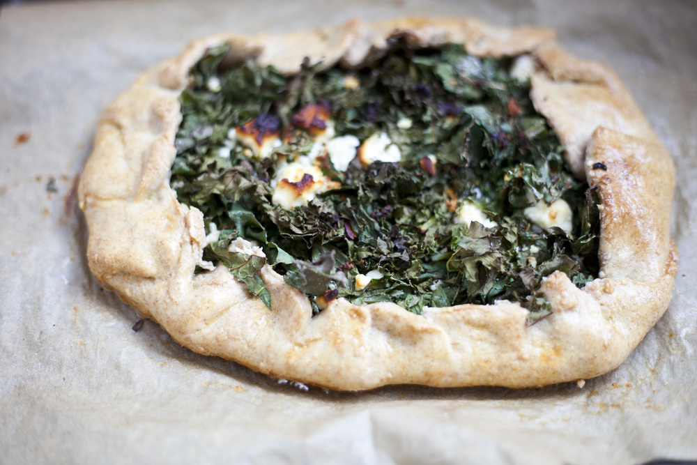 Healthy Whole Wheat Kale and Feta Tart Dinner Recipe