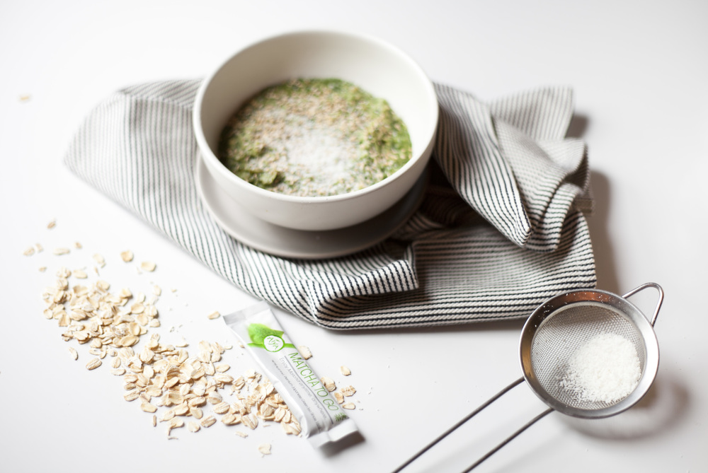 Matcha Oatmeal with Sesame and Coconut