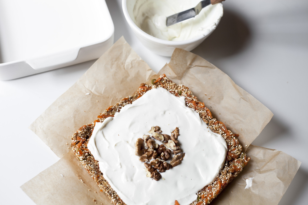 Healthy Carrot Cake Quinoa Bars with Cream Cheese Frosting
