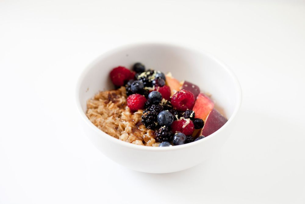 Summer Berry Peach Oatmeal Breakfast