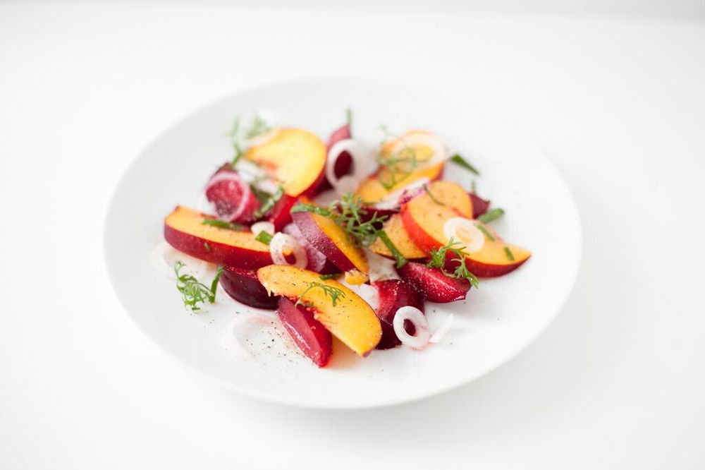 Peach and Plum Healthy Summer Salad