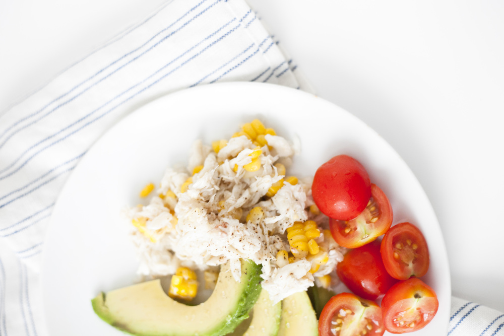 light crab and avocado summer salad