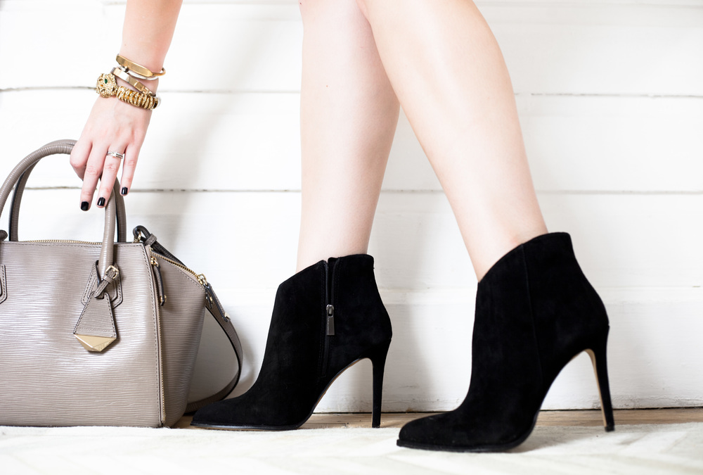 suede booties, gold bracelet arm stack, rebecca minkoff mini perry satchel