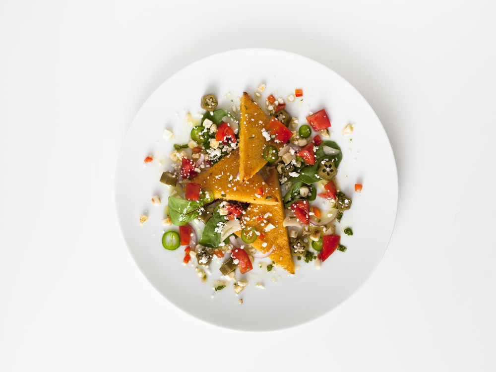 Southern Veggie Polenta Toast Salad
