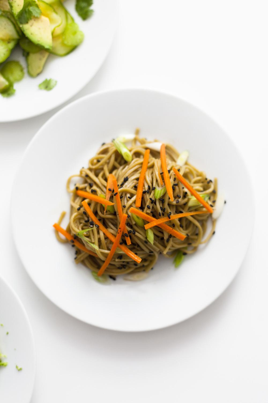 cold black sesame soba noodle salad