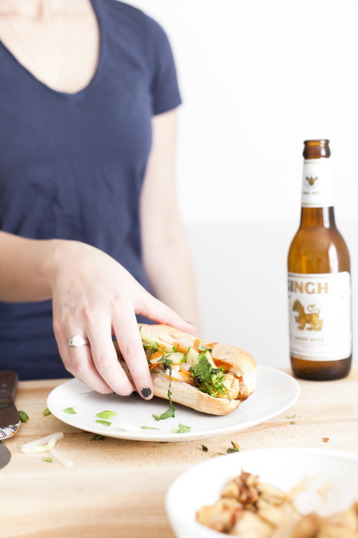Spicy Vegetarian Tofu Bahn Mi Sandwich