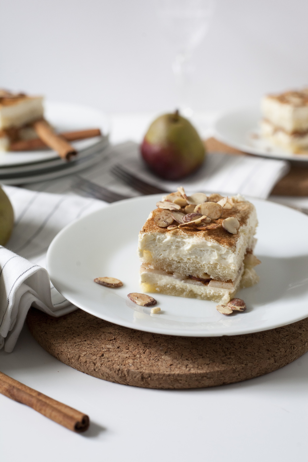 Winter Pear Almond and Honey Tiramisu Cake
