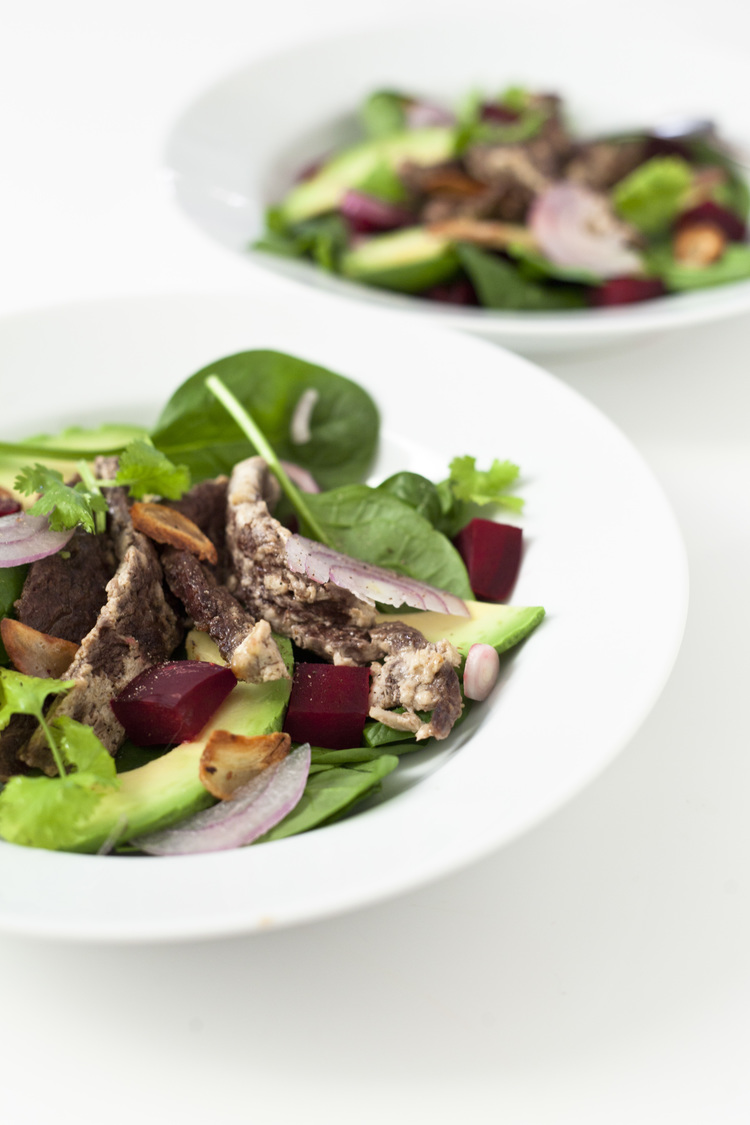 Tender Yogurt Marinated Steak Salad with Avocado