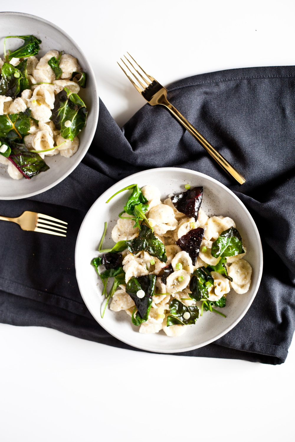 Winter Greens with Orecchiette and Wine Scallion Sauce