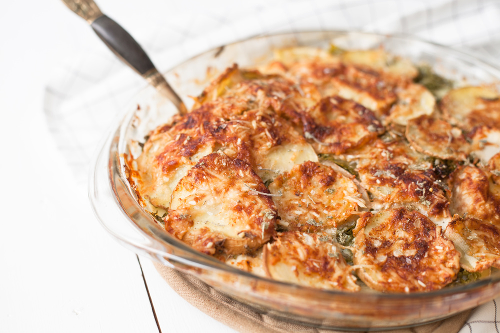 healthy potato apple kale gratin
