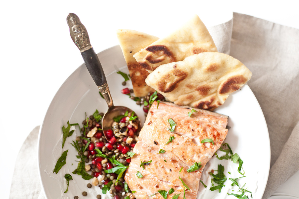 Pomegranate Lentil Salsa and Salmon Flatbread  recipe