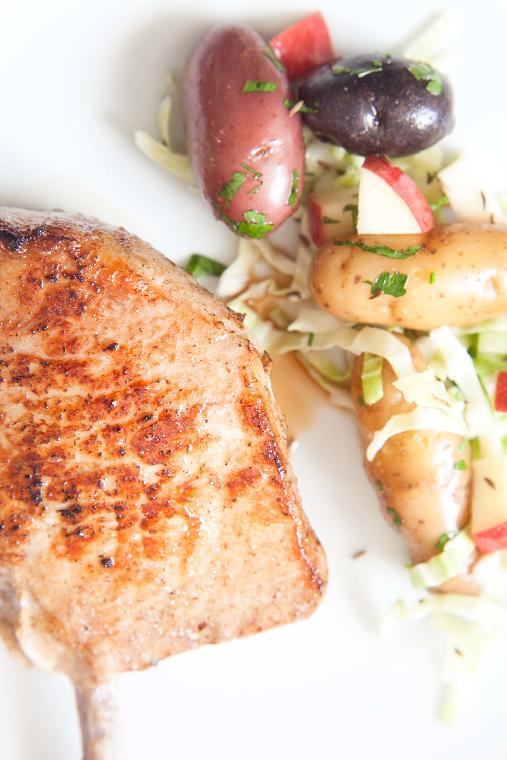 Tender Spring Pork Chop and Caraway Cabbage Salad
